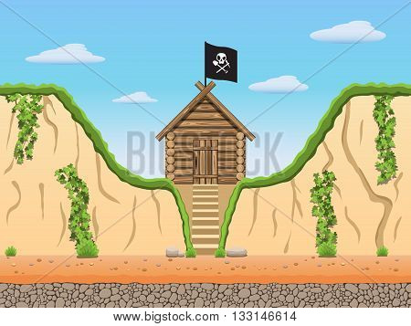 Diggers black archaeologist tomb raiders game background. Vector illustration. Part 1.