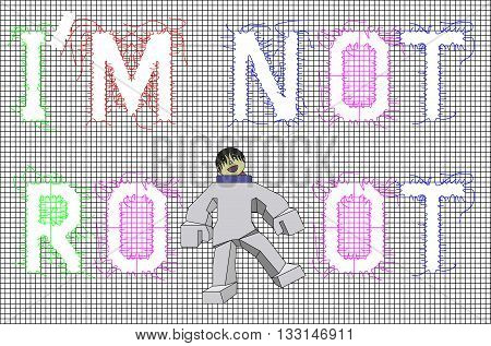 Vector Black Mesh With Word I Am Not Robot Pattern . for Background. Fabric.Print.