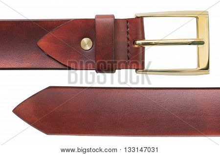 Leather belt isolated on white background.Old Leather belt.