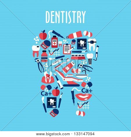 Healthy tooth made up of dentistry and oral hygiene flat symbols with toothbrushes and toothpastes, carious teeth, braces and implants, dentist instruments and equipments, dental floss and mouthwashes, x-ray, clipboards, vitamins and apples