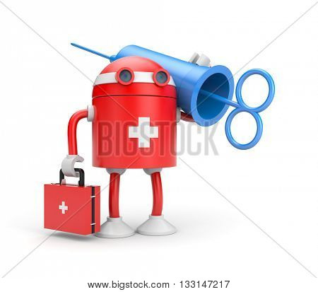 Robot doctor with syringe (retro style). 3d illustration