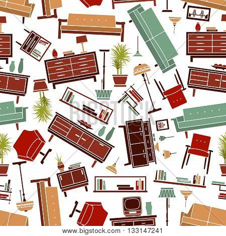 Home interior furniture seamless pattern background with flat retro stylized sofas, armchairs and couches, wooden bookshelves and chests of drawers, floor and pendant lamps, tv sets and vases