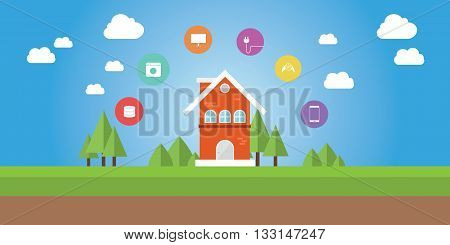 internet of things smart house with icon on top vector graphic illustration