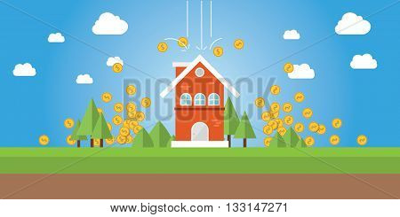 property value with gold coin money falling from sky vector graphic illustration