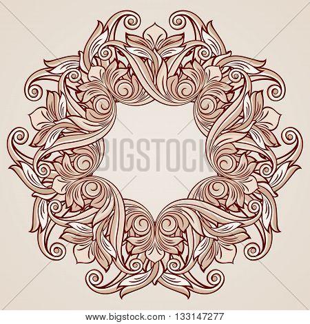 Round ornate pattern in pastel rose pink tints