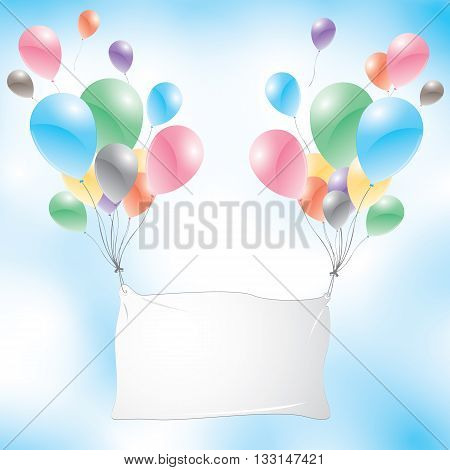 Balloons with white sign on a blue sky background. Colorful balloons.