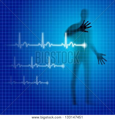 Blue neon medical background with human silhouette and cardiogram line