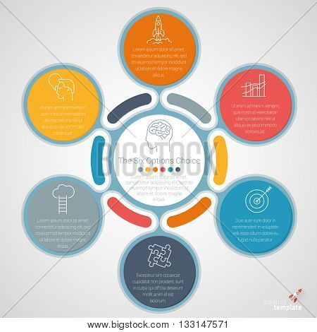 Six options vector infographic template.