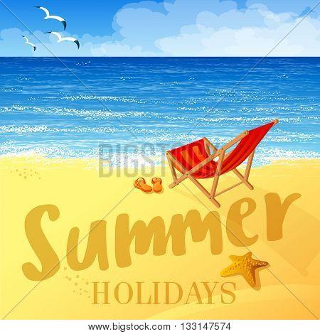 Tropical beach vector background. Summer holiday vector concept