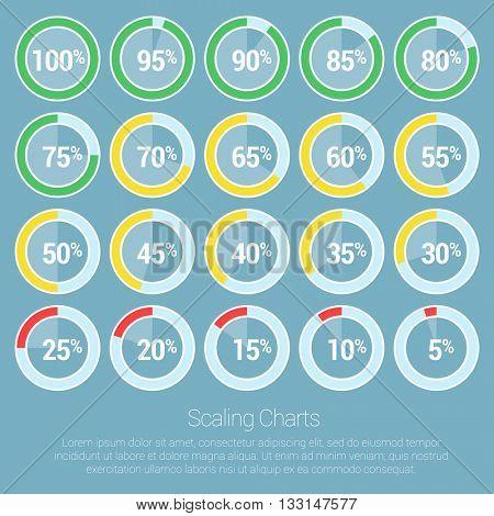 Countdown pie indicators. Vector infographic design element set.