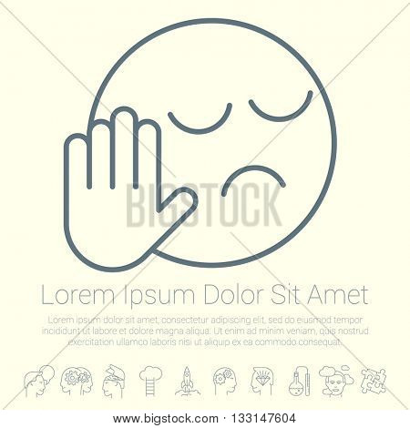 Vector rejection sign icon. Flat design style