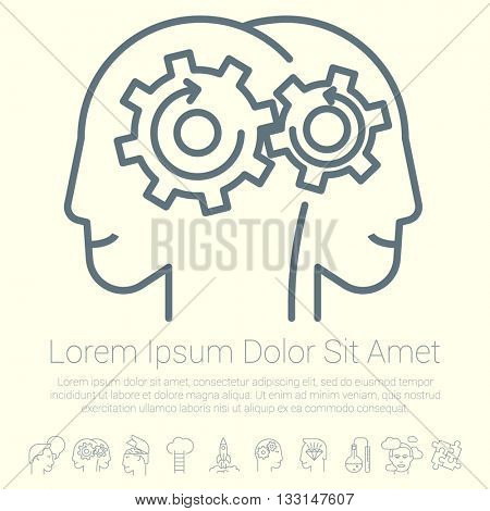 Coworking process. Brain work. Vector mock up.