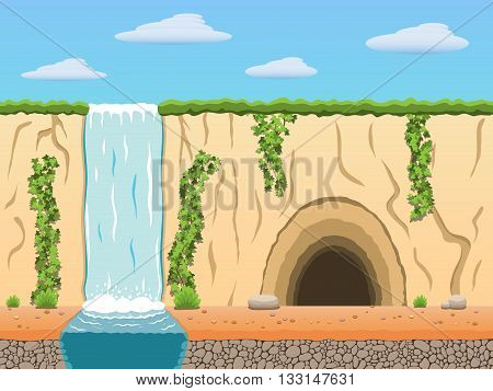 Cartoon diggers black archaeologist tomb raiders game background. Vector illustration. Part 2.