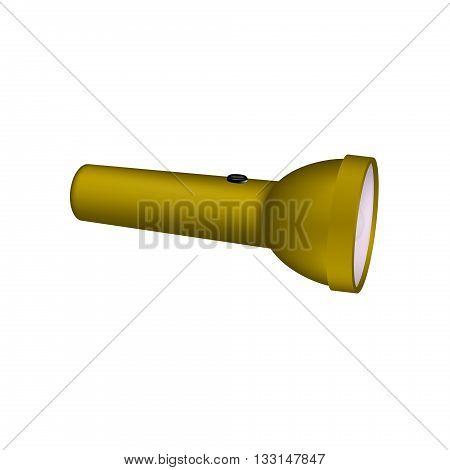 Flashlight in brown design on white background