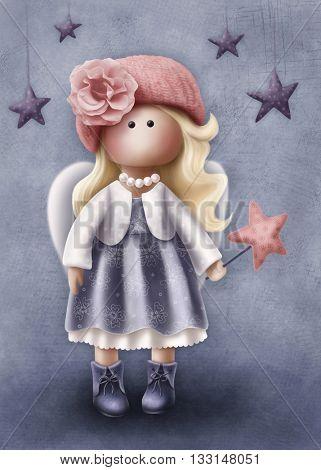 Illustration of a little angel girl
