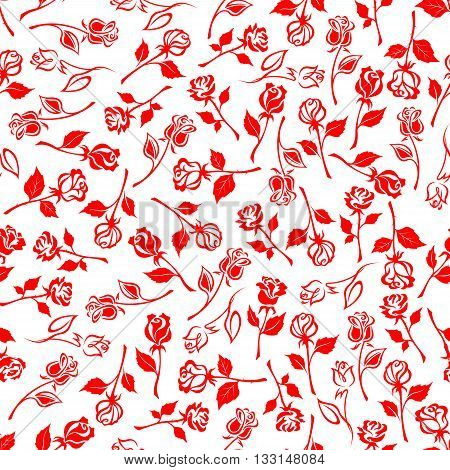 Seamless floral pattern of dainty blooming flowers of red summer roses on white background. May be use as textile print or interior accessories design