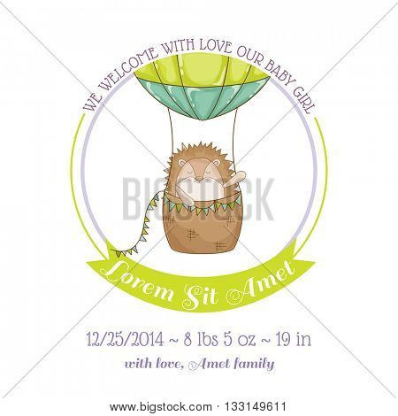 Baby Shower or Arrival Card - Baby Hedgehog and Air balloon- in vector