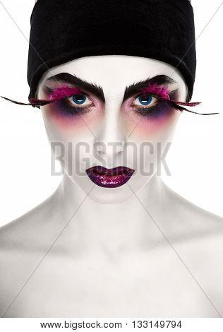 Face Art. Fantastic Make Up. luxury feather eyelashes, Surrealism