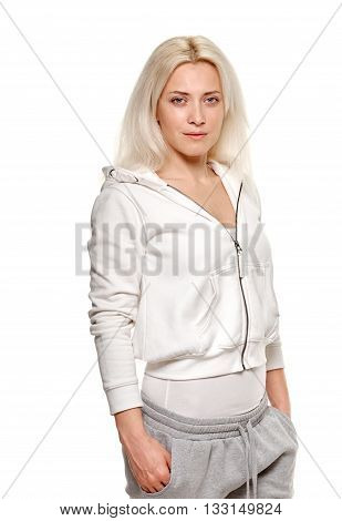 fitness woman. Young sporty Caucasian female model on white background