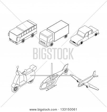 Isometric transport icons set for infographics, brochure and game design