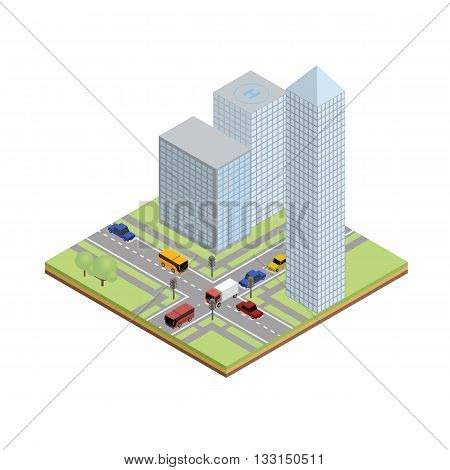 Isometric crossroad in city with skyscrapper, cars, bus, truck