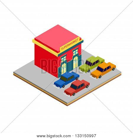 Isometric supermarket cars parking for game tile and infographics