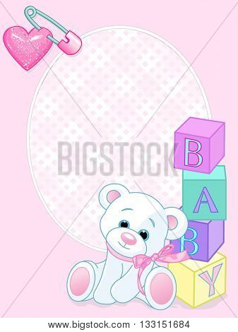 "Pink pattern with Teddy Bear and word ""baby"" spelled out by blocks"
