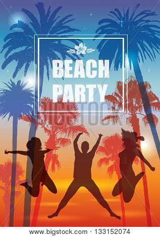 Exotic Banner with Palm Trees and People Silhouettes for Party. Summer Travel Background.