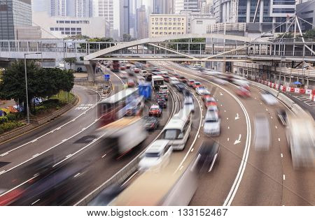 traffic blur motions in city hong kong street