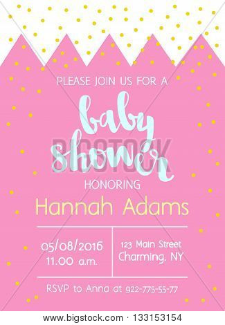 Vector Cute Baby Shower Invitation With Lettering For Girl. Background With Crown And Gold Foil Conf