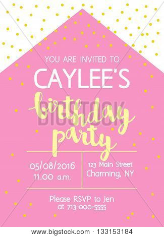 Vector Cute Kids Birthday Party Invitation With Lettering For Girl. Modern Simple Geometric Backgrou