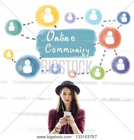 Online Community Sharing Communication Society Concept
