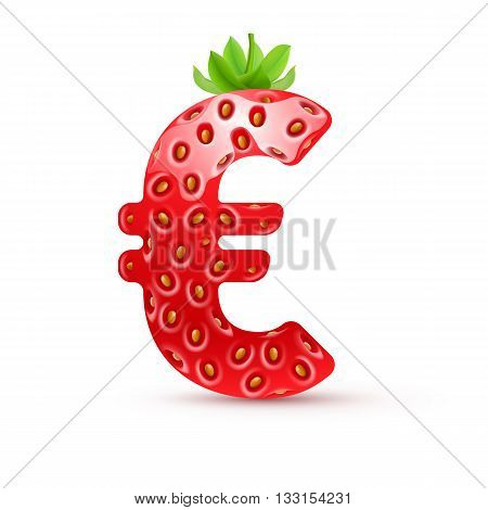 Euro symbol in strawberry style with green leaves
