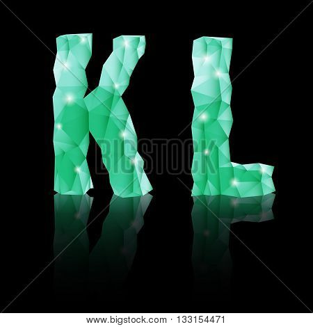 Shiny emerald green polygonal font with reflection on black background. Crystal style K and L letters