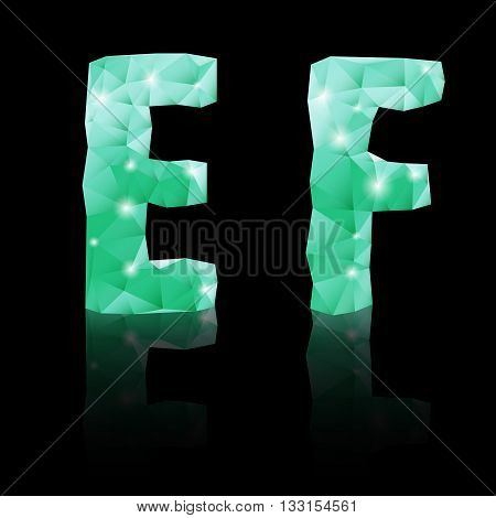Shiny emerald green polygonal font with reflection on black background. Crystal style E and F letters