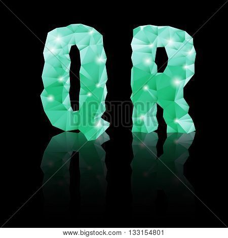 Shiny emerald green polygonal font with reflection on black background. Crystal style Q and R letters