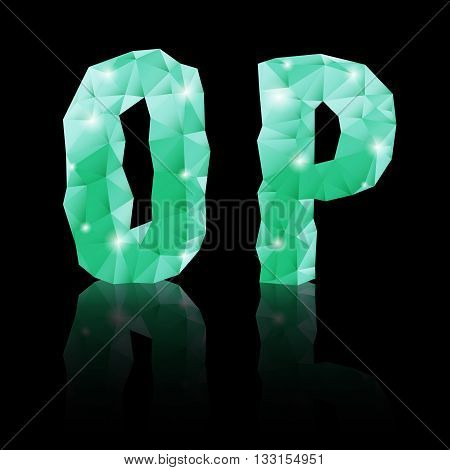 Shiny emerald green polygonal font with reflection on black background. Crystal style O and P letters