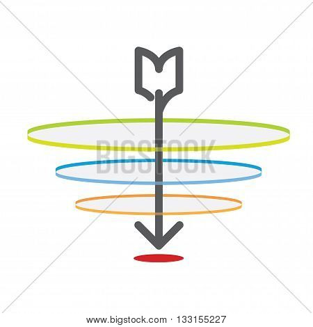 Vector : Vintage Arrow Point To The Red Target With Dart Ring,business Concept