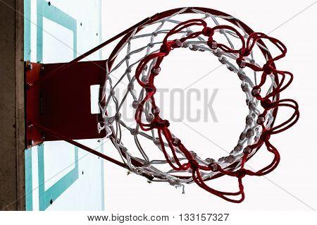 Basketball backboard below, Under basketball hoop view
