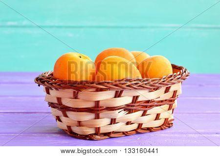 Ripe fresh apricots in basket. Beautiful orange colored fruits full of beta-carotene and fiber. Source of vitamins and minerals. Vegetarian natural food. Healthy vegetarian dessert. Stone fruits.