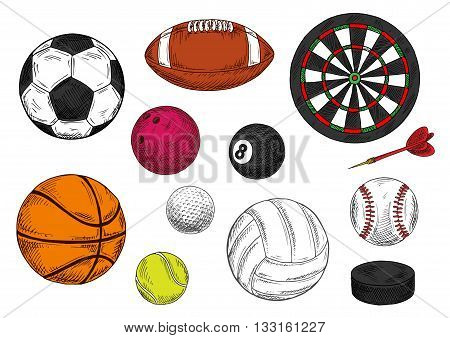 Sketched dartboard with darts arrow, ice hockey puck and sporting balls for soccer and american football, baseball and basketball, golf and volleyball, tennis and rugby, billiards and bowling games