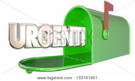 Urgent Message Note Letter Mailbox Communication 3d Illustration