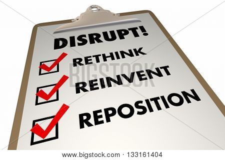 Disrupt Rethink Reinvent Checklist Words 3d Illustration