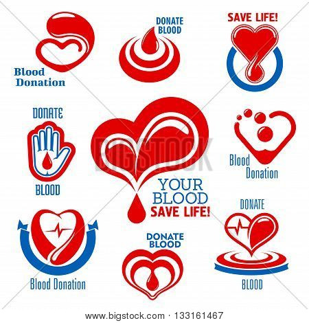 Bright red hearts icons with drops of blood, heartbeat graphs and open palm, supplemented by ribbon banners and captions Blood Donation. Use as medical charity, blood donor or healthcare themes design