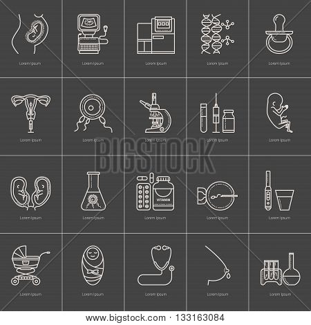 Set obstetrics and pregnancy in vitro fertilization. Flat line vector icons. Gynecology fertility birth of a child health symbols. test for pregnancy the fetus the uterus the embryo. Black background