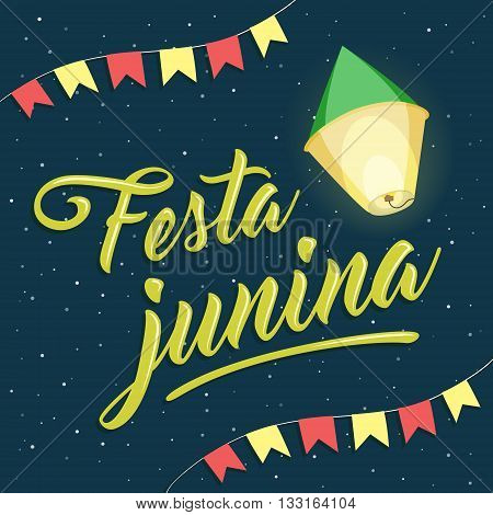 Festa Junina, brazilian june party lettering with balloon and flags