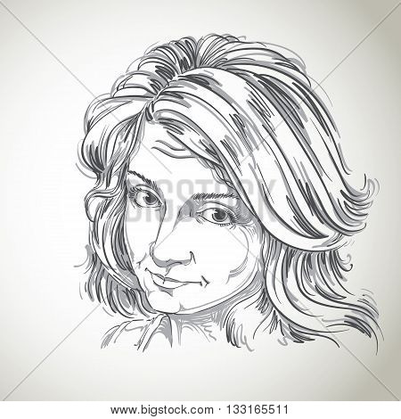 Artistic hand-drawn vector image black and white portrait of delicate naïve blameworthy girl. Emotions theme illustration. I feel guilty theme picture.
