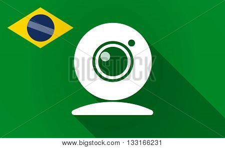 Long Shadow Brazil Flag With A Web Cam