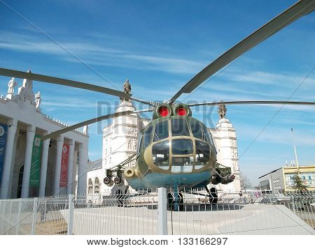 Moscow, Russia - March 29, 2016: Russian military helicopter MI-8 at the Exhibition of Achievements of National Economy (VDNH)
