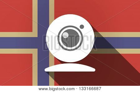 Long Shadow Norway Flag With A Web Cam